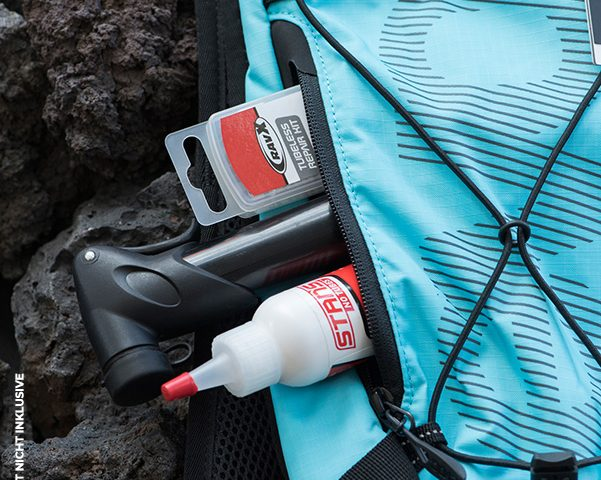 Kompakter Rucksack mit Platz fürs Pannenset