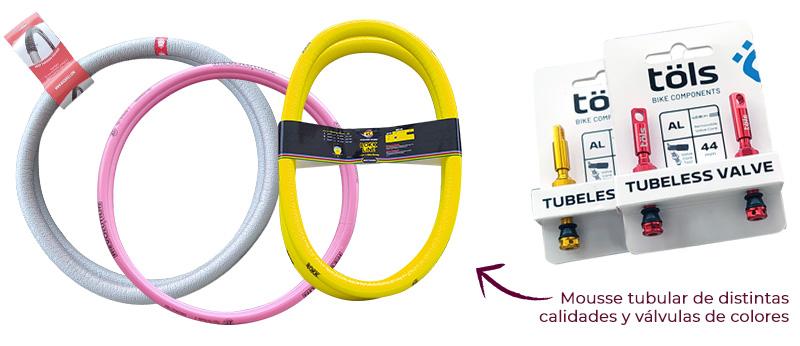 upgrade tubelizar con mousse tubular y valvulas de colores